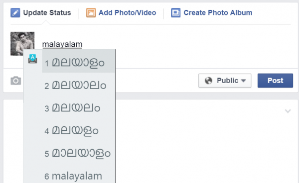 This is how you use input tools to type malayalam in facebook