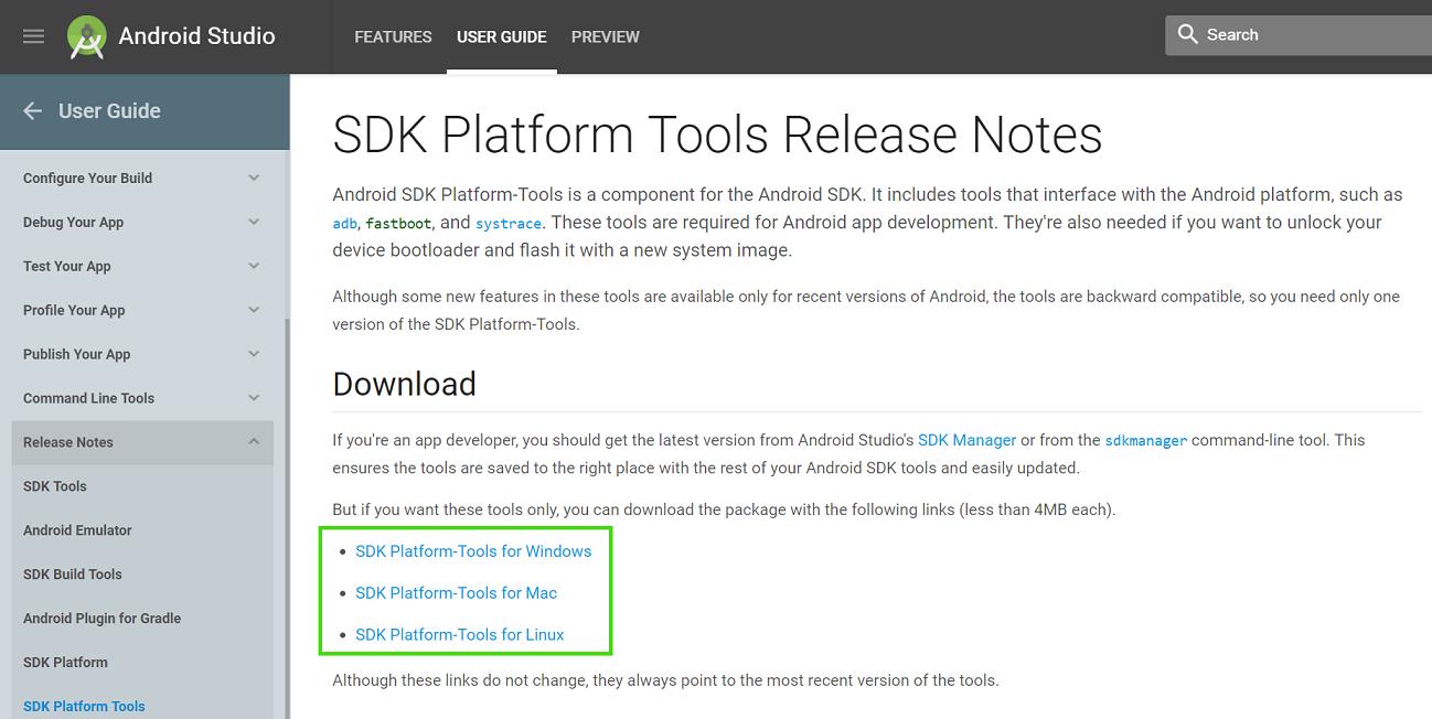 Google Platform Tools ADB Download Link
