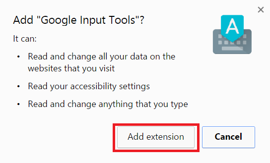click on 'Add extension' go install input tools