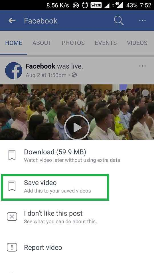 save a post in facebook
